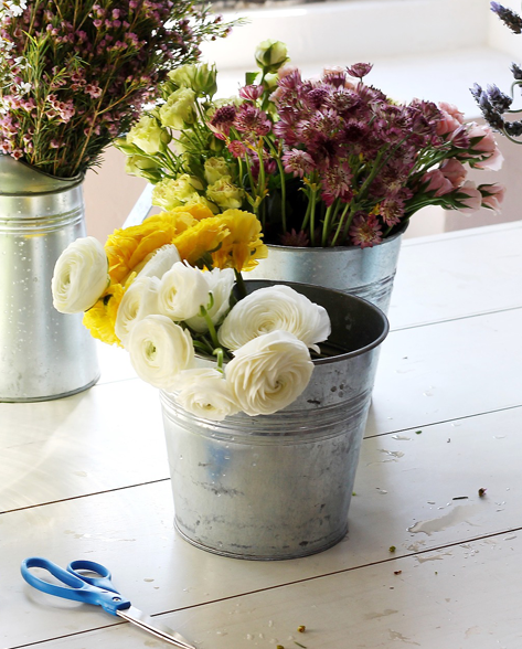 flowers in bucket